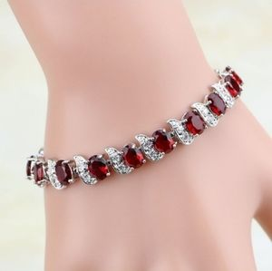 New! Beautiful Red Ruby & White Topaz Bracelet
